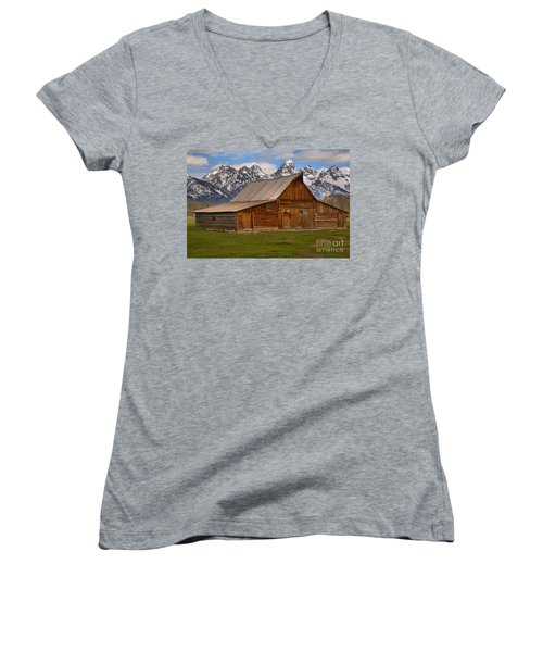 Historic Moulton Barn Women's V-Neck T-Shirt (Junior Cut) by Adam Jewell