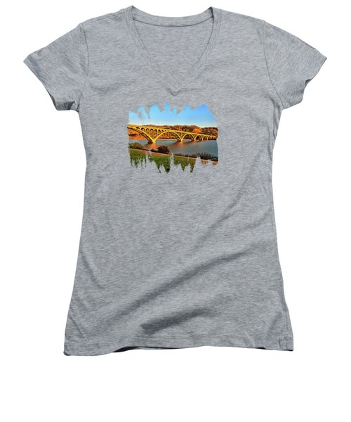 Historic Patterson Bridge Gold Beach Women's V-Neck T-Shirt (Junior Cut) by Thom Zehrfeld