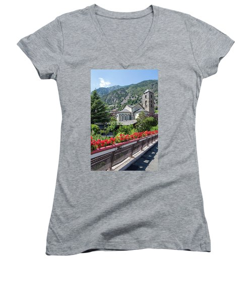 Historic Town Of Andorra La Vella Women's V-Neck T-Shirt (Junior Cut) by GoodMood Art
