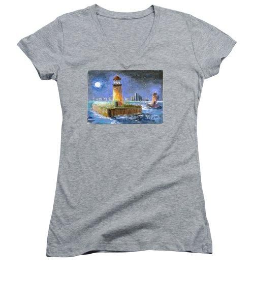 Historical 1859 South Channel Lights Full Moon Women's V-Neck T-Shirt