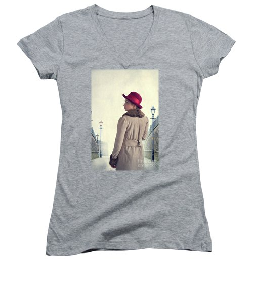 Historical Woman In An Overcoat And Red Hat Women's V-Neck T-Shirt (Junior Cut) by Lee Avison