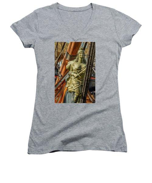 Women's V-Neck T-Shirt (Junior Cut) featuring the photograph Hms Surprise by Bill Gallagher