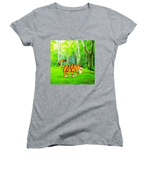 Hungry Tiger In The Jungle Women's V-Neck (Athletic Fit)