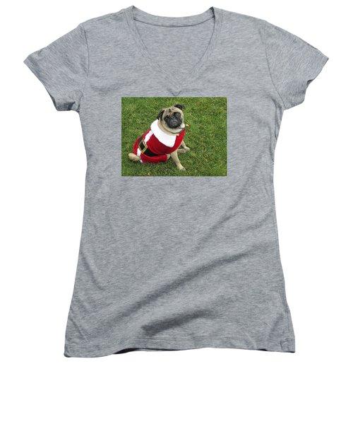 Ho, Ho, Ho Women's V-Neck T-Shirt (Junior Cut) by Russell Keating