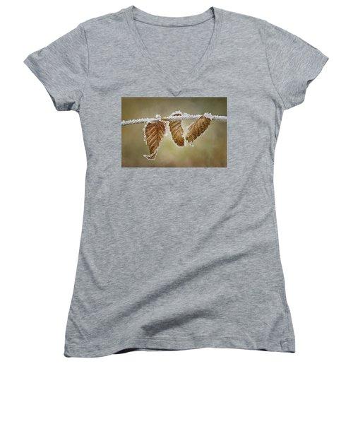 Hoar Frost - Leaves Women's V-Neck T-Shirt