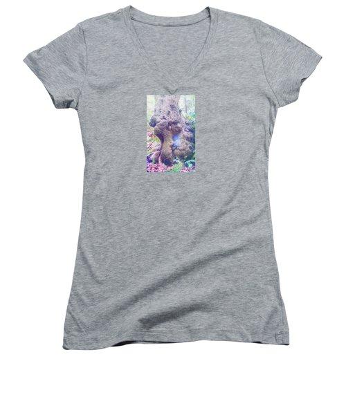 Women's V-Neck T-Shirt (Junior Cut) featuring the photograph Hobbit House by Jean OKeeffe Macro Abundance Art