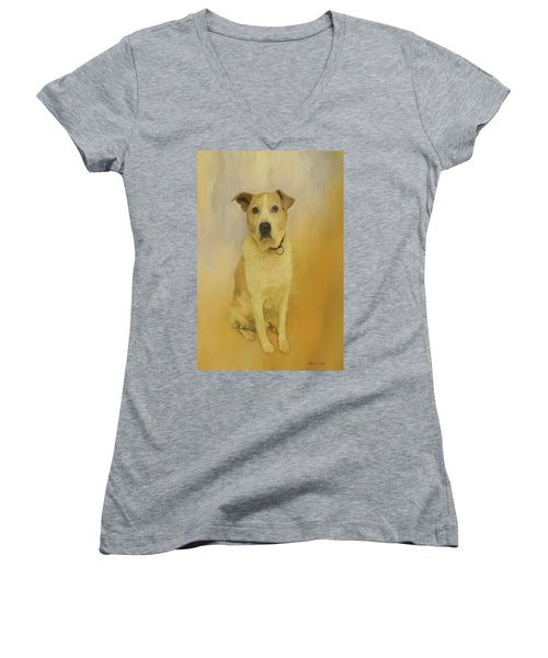 Women's V-Neck T-Shirt featuring the photograph Hobbit The Harrier Hound by Bellesouth Studio