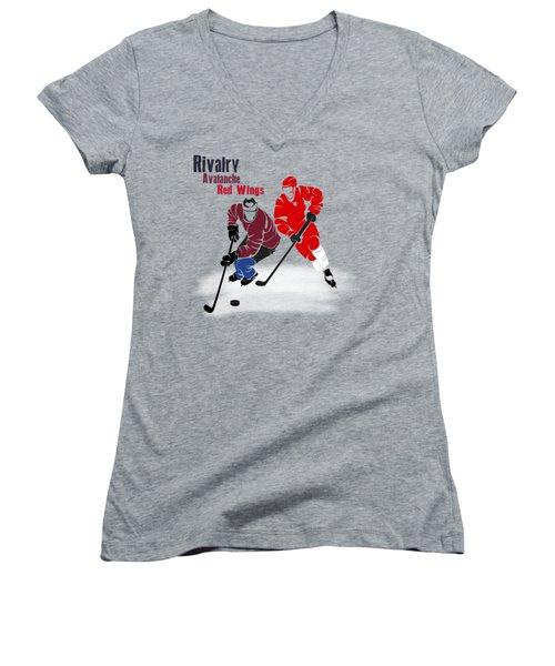 Hockey Rivalry Avalanche Red Wings Shirt Women's V-Neck T-Shirt (Junior Cut) by Joe Hamilton