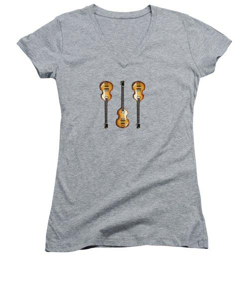 Hofner Violin Bass 62 Women's V-Neck T-Shirt (Junior Cut) by Mark Rogan