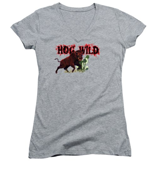 Hog Wild Tee Women's V-Neck T-Shirt (Junior Cut) by Rob Corsetti