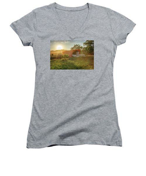 Hogback Covered Bridge 2 Women's V-Neck