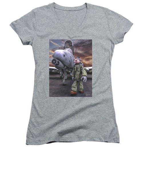 Hogman Women's V-Neck T-Shirt (Junior Cut) by Dave Luebbert