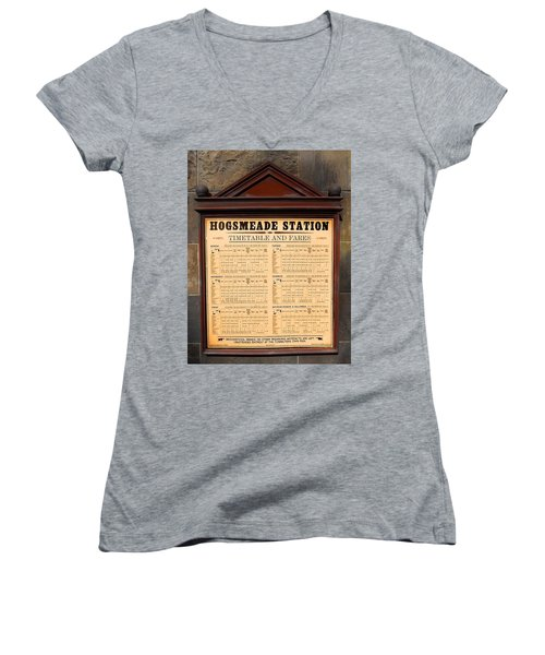Women's V-Neck T-Shirt (Junior Cut) featuring the photograph Hogsmeade Station Timetable by Juergen Weiss