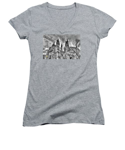 Women's V-Neck featuring the photograph Hogwarts Castle 1 by Jim Thompson