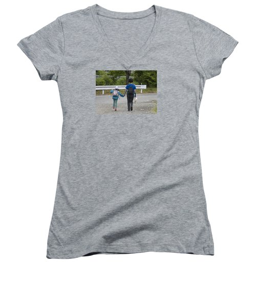 Holding Hands Women's V-Neck (Athletic Fit)