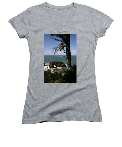 Women's V-Neck T-Shirt (Junior Cut) featuring the photograph Hole In One At Arch Rock by Marie Neder