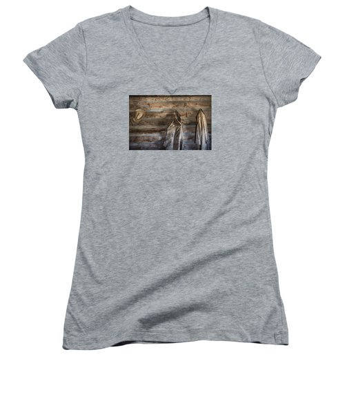 Hole-in-the-wall Cabin At Old Trail Town In Cody In Wyoming Women's V-Neck T-Shirt (Junior Cut) by Carol M Highsmith
