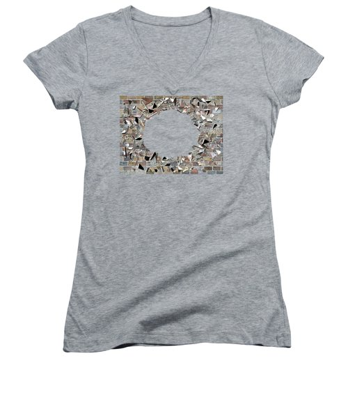 Women's V-Neck T-Shirt (Junior Cut) featuring the digital art Hole In The Wall - Exploding Wal by Michal Boubin