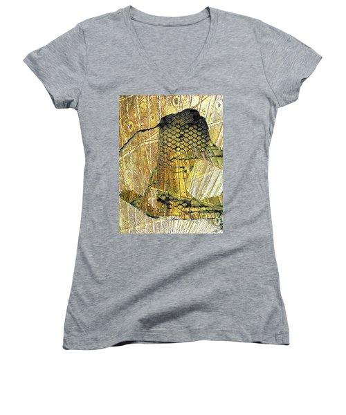 Women's V-Neck T-Shirt (Junior Cut) featuring the mixed media Hole In The Wall by Tony Rubino
