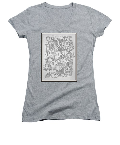Women's V-Neck T-Shirt (Junior Cut) featuring the drawing Holiday Thoughts by Rosemary Colyer