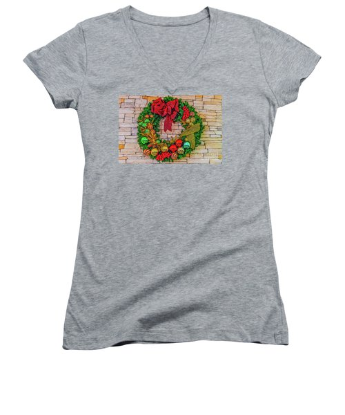 Holiday Wreath Women's V-Neck (Athletic Fit)