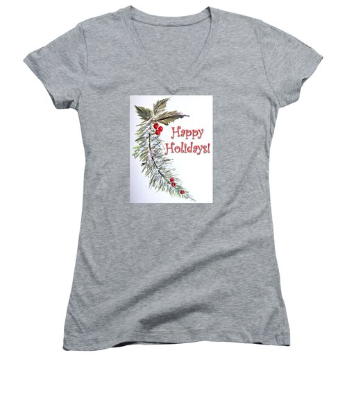 Holidays Card - 3 Women's V-Neck T-Shirt
