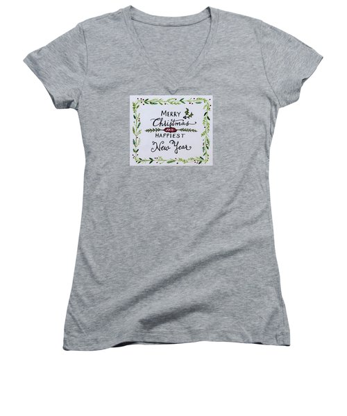 Women's V-Neck T-Shirt (Junior Cut) featuring the painting Holly Berry Merry Christmas by Elizabeth Robinette Tyndall