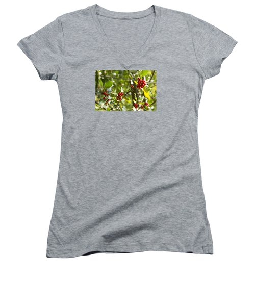 Women's V-Neck T-Shirt (Junior Cut) featuring the photograph Holly With Berries by Chevy Fleet