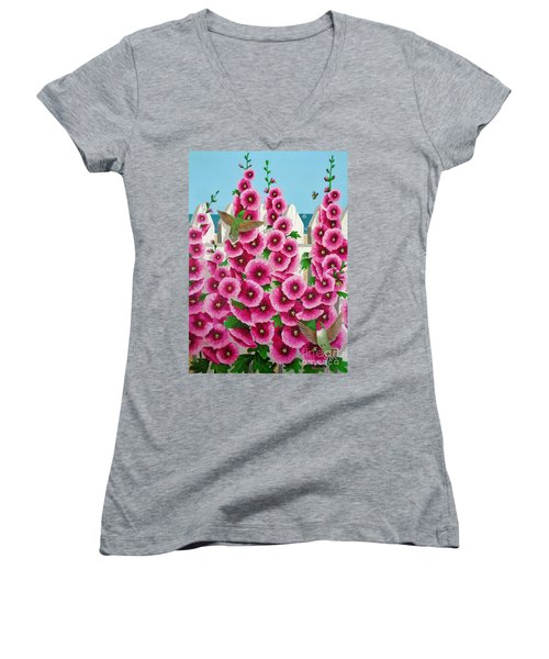 Women's V-Neck T-Shirt (Junior Cut) featuring the painting Hollyhocks And Humming Birds by Katherine Young-Beck