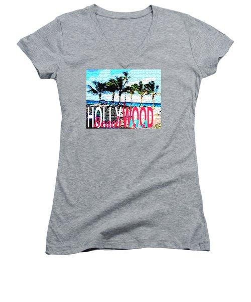 Hollywood Beach Fla Poster Women's V-Neck T-Shirt (Junior Cut) by Dick Sauer