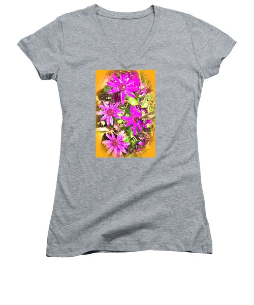 Hollywood Flower Stars Women's V-Neck T-Shirt (Junior Cut)