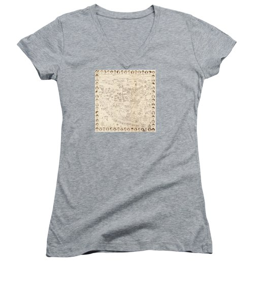 Hollywood Map To The Stars 1937 Women's V-Neck T-Shirt (Junior Cut) by Don Boggs