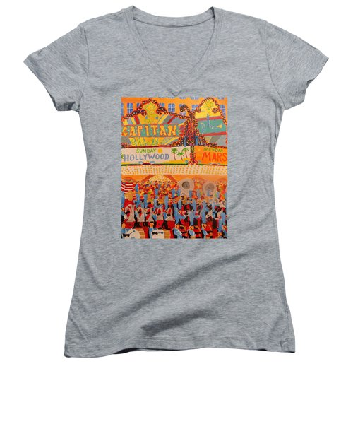 Hollywood Parade Women's V-Neck T-Shirt (Junior Cut) by Rodger Ellingson