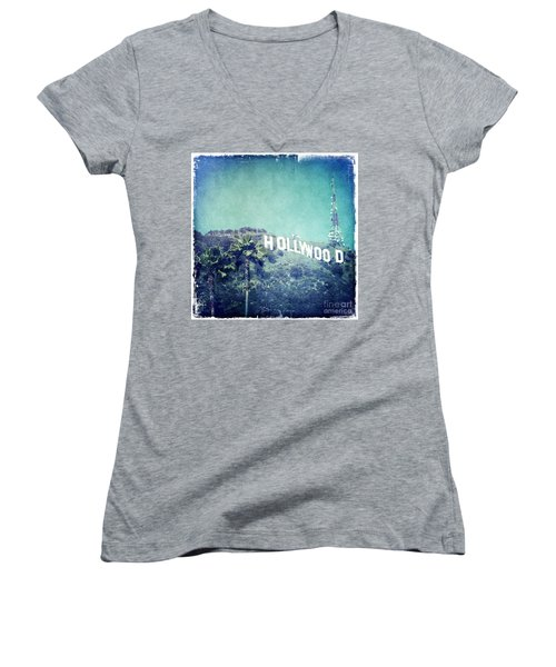 Hollywood Sign Women's V-Neck (Athletic Fit)
