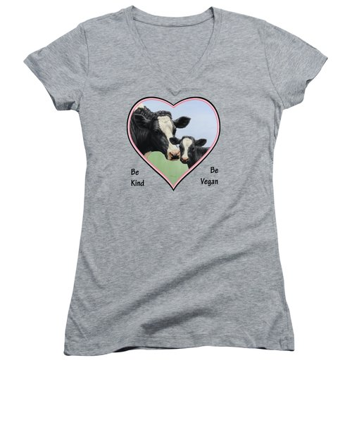 Holstein Cow And Calf Pink Heart Vegan Women's V-Neck (Athletic Fit)