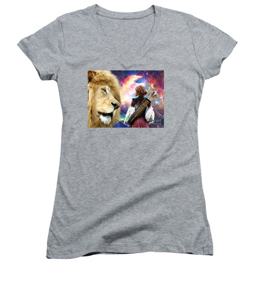 Women's V-Neck T-Shirt (Junior Cut) featuring the digital art Holy Calling by Dolores Develde