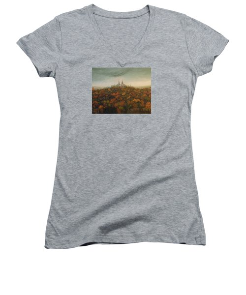 Women's V-Neck T-Shirt (Junior Cut) featuring the painting Holy Hill Rain Storm by Dan Wagner
