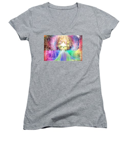 Women's V-Neck T-Shirt (Junior Cut) featuring the digital art Holy Holy Holy by Dolores Develde
