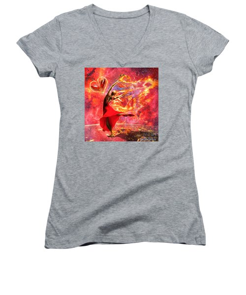 Holy Spirit Fire Women's V-Neck (Athletic Fit)