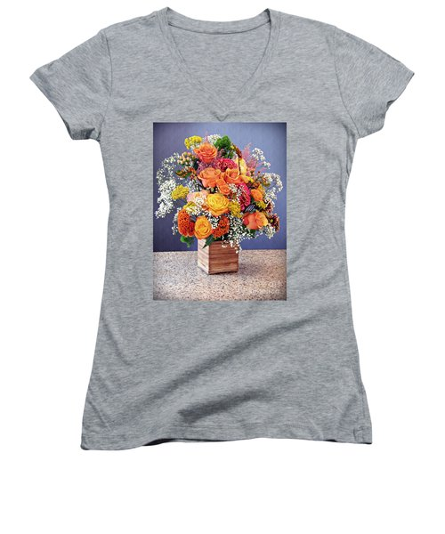 Women's V-Neck T-Shirt (Junior Cut) featuring the photograph Holy Week Flowers 2017 by Sarah Loft