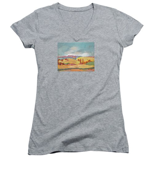 Women's V-Neck T-Shirt (Junior Cut) featuring the painting Home Land by Becky Kim