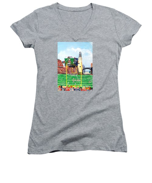 Home Of The Pats Women's V-Neck T-Shirt (Junior Cut) by Jack Skinner