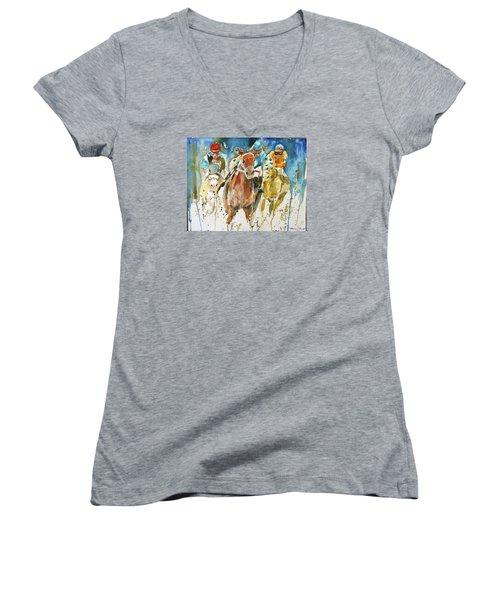 Home Stretch Women's V-Neck T-Shirt (Junior Cut) by P Maure Bausch