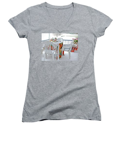 Home Sweet Frozen Home Women's V-Neck T-Shirt (Junior Cut) by Carol F Austin