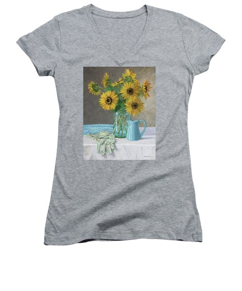 Homegrown - Sunflowers In A Mason Jar With Gardening Gloves And Blue Cream Pitcher Women's V-Neck T-Shirt