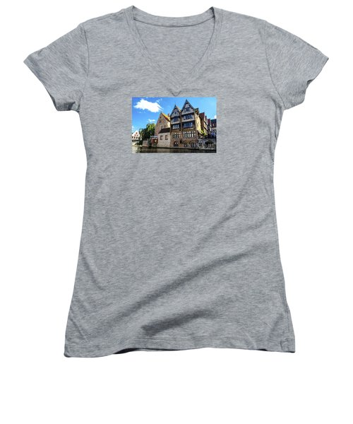 Women's V-Neck T-Shirt (Junior Cut) featuring the photograph Homes Of Bruges by Pravine Chester