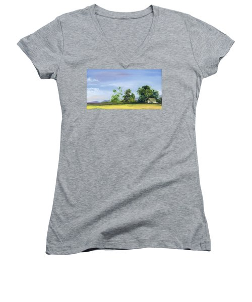 Women's V-Neck T-Shirt (Junior Cut) featuring the painting Homestead by Jane Autry