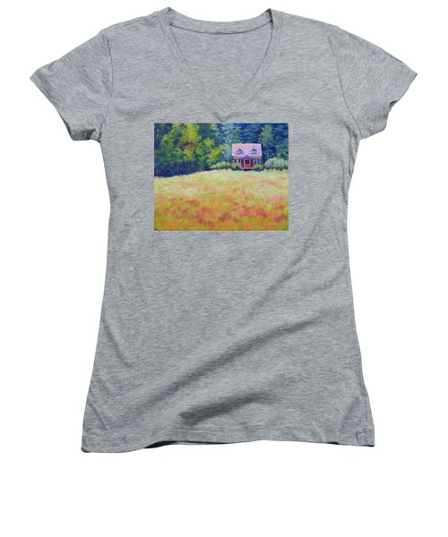 Women's V-Neck T-Shirt (Junior Cut) featuring the painting Homestead by Nancy Jolley