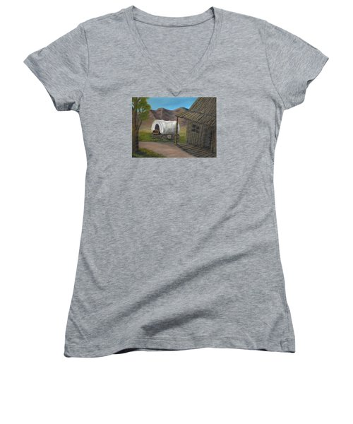 Women's V-Neck T-Shirt (Junior Cut) featuring the painting Homestead by Sheri Keith