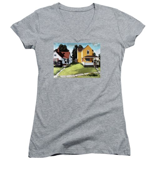 Hometown - Urban Scene Oil Painting Women's V-Neck